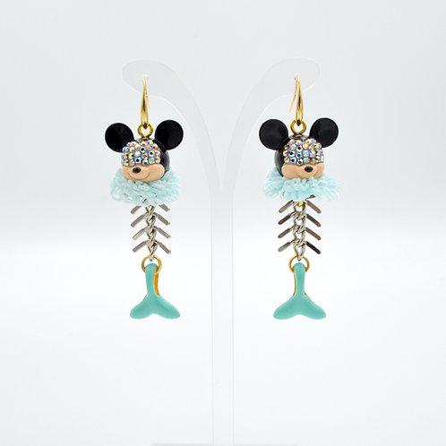 惡搞米老鼠美人魚骨耳環 Mouse with Mermaid Skeleton Earring