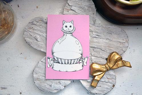 GOOKASO 貓咪玻璃瓶 明信片 珠光卡紙材質 POSTCARD