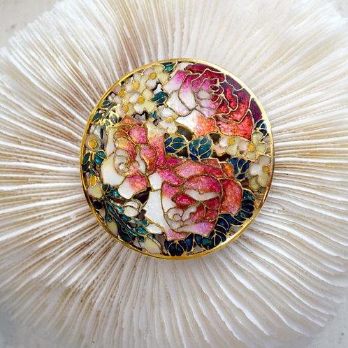 超華麗 日本通花手工琺瑯牡丹金屬胸針 日本高級二手中古珠寶首飾