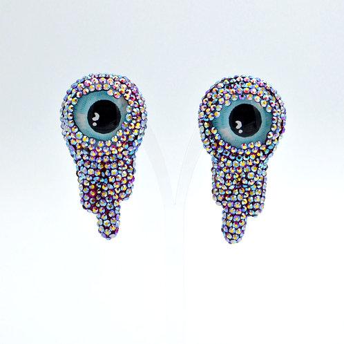 綴施華洛水晶眼淚型眼睛夾耳環