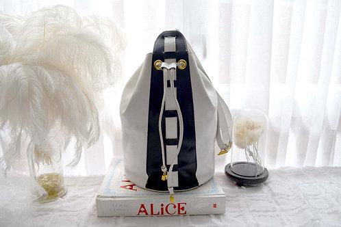 CELINE中古白色撞黑色真皮水筒手袋包包 意大利高級二手古著珠寶