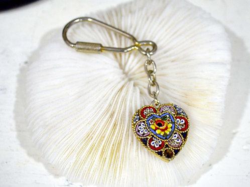 復古義大利馬賽克風格鑰匙圈 高貴優雅 日本高級二手中古珠寶首飾