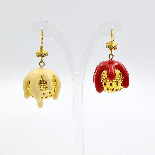 彩色雪糕金色鑲空花球耳環