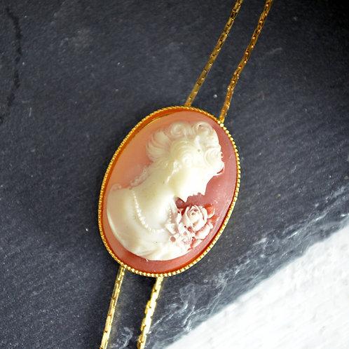 VINTAGE 60s 古董貴婦項鍊 手工雕刻貝殼立體浮雕貴婦圖案 鍍18K金 只有一件
