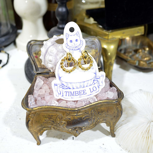 華麗風鍍金優雅扭紋耳環耳夾 高貴優雅 日本二手中古珠寶首飾古著