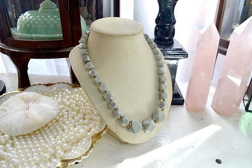 雲石色多邊型樹脂珠子項鏈 貴婦淑女 日本高級二手古著珠寶首飾