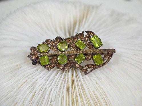 復古綠水晶古銅閃亮胸針 高貴優雅 日本高級二手中古珠寶首飾