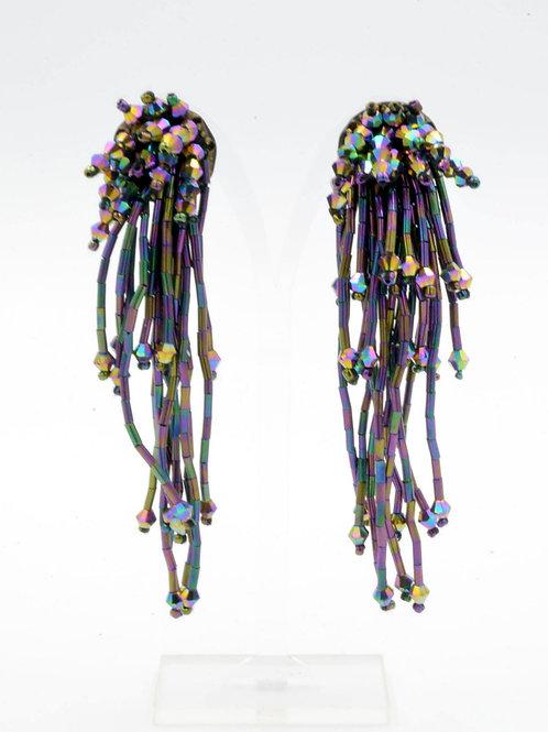 TIMBEE LO 紫色幻彩管珠子瀑布流鬚耳環