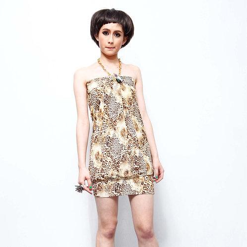 TIMBEE LO 豹紋抹胸連身裙 拉架質料彈性柔軟 可搭配不同衣服造型