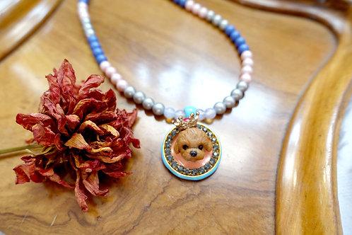 TIMBEE LO 貴婦狗綴施華洛水晶圓型頸鍊 貝殼製珍珠鍍18K鍍真金鍊