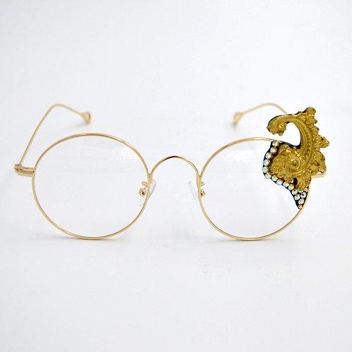 金色巴洛克雕花平光眼鏡