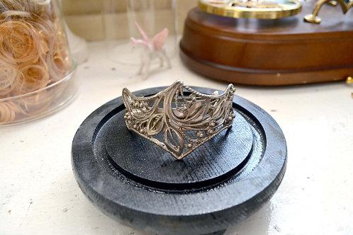 鍍銀維多利亞宮廷風華麗鏤花髮夾 日本高級二手中古珠寶首飾