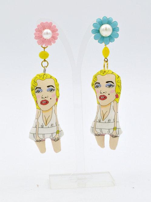 瑪麗蓮夢露 手工製布娃娃耳環