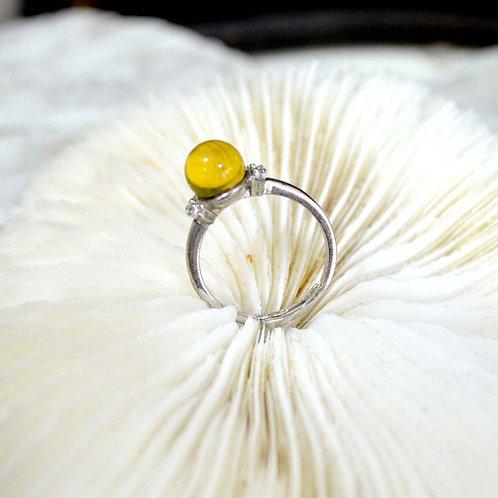 華麗超透圓型琥珀銀托戒指 高貴優雅 日本二手中古珠寶首飾古著