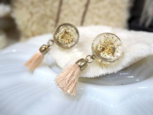 中古樹脂乾燥花流蘇耳夾 貴婦人淑女 日本高級二手古著珠寶首飾