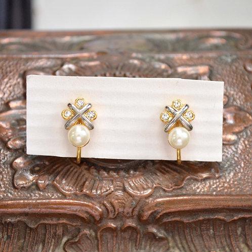 貴族珍珠水鑽耳夾 貴婦淑女 日本高級二手古著珠寶首飾