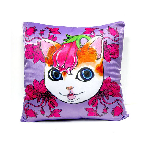 Gookaso原創繪本設計創作 紫花圖貓咪卡通絲絨質印花抱枕 45x45cm