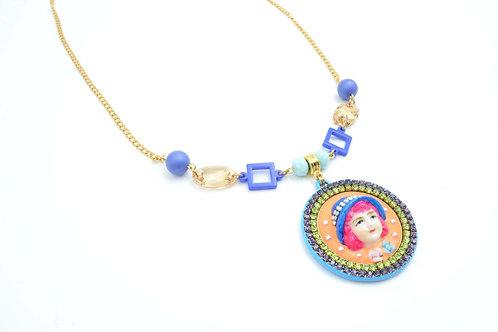 粉藍色娃娃施華洛水晶珠子頸鍊 鍍18K金鍊 水晶花邊 貝殼合成珍珠