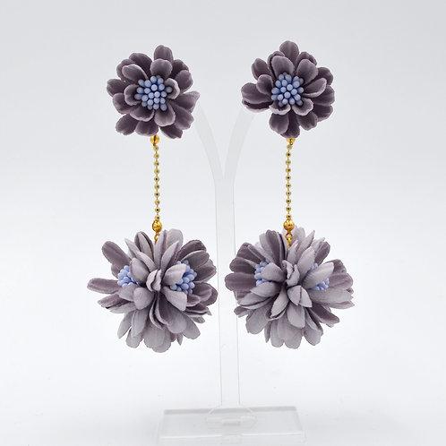 紫色立體壓花雛菊花球耳環 Orchid Purple Daisy Ball Earring