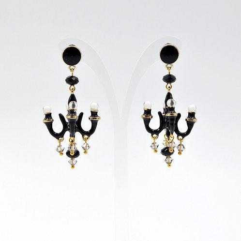 TIMBEE LO 炭黑色 迷你吊燈耳環 法式樹脂搪瓷塗層  Charcoal Black Mini Chandelier Earring
