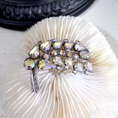 樹葉型華麗爪鑲寶石鍍銀胸針 高貴優雅 日本高級二手中古珠寶首飾