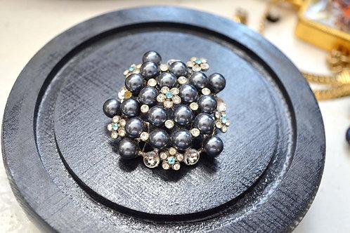 真黑珍珠豪華通花純銀胸針 有瑕疵 高貴優雅日本二手中古珠寶首飾