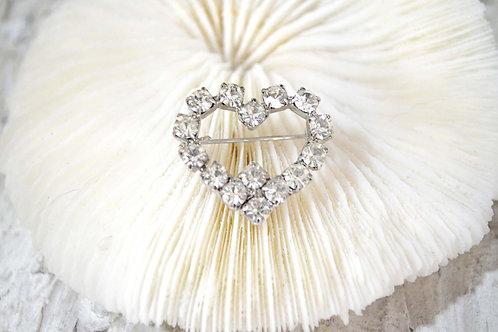 華麗銀色爪鑲水鑽愛心型胸針 高貴優雅 日本二手中古珠寶首飾古著