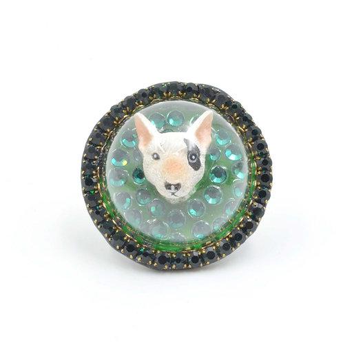 布爹利小狗玻璃罩戒指 綴綠色施華洛世奇水晶繞邊 鬥牛㹴 牛頭㹴