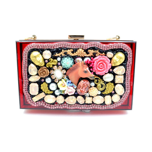 TIMBEE LO 手工立體馬頭玫瑰花彩色寶石珠寶風裝飾盒手拿包手提袋