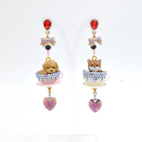 小狗茶杯耳環綴施華洛水晶 Doggies on the Cup Earrings with Swarovski Crystal