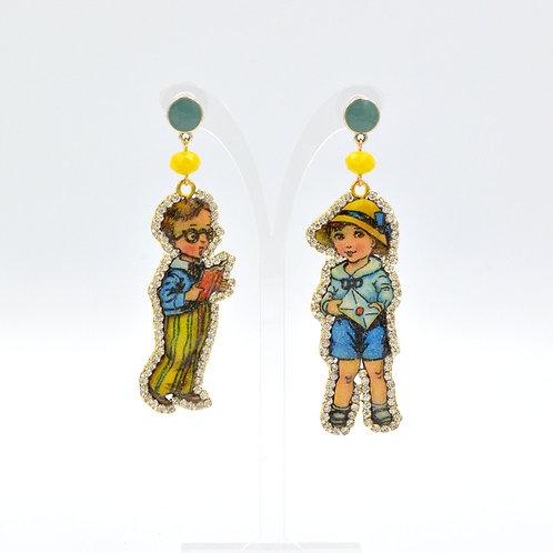 木片娃娃男孩耳環