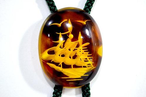 琥珀帆船雕刻鏈墜織繩項鏈 貴婦少女 輕珠寶 日本高級二手古著珠寶首飾