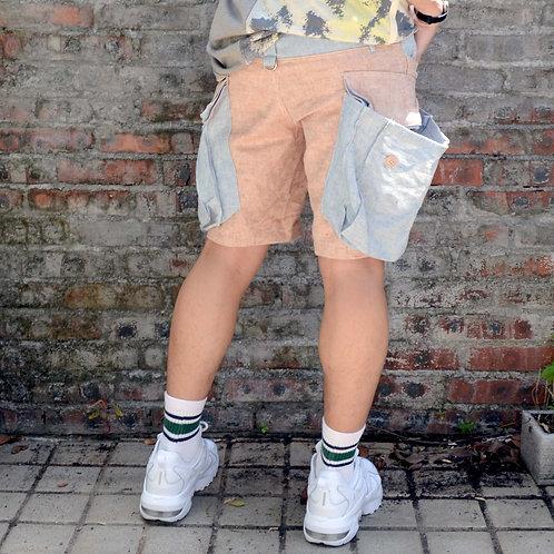 TIMBEE LO 粉藍粉橙拼色短褲 大熱單品 超大方型立體軍袋款