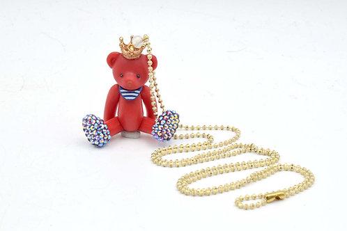 TIMBEE LO 紅色活動皇冠小熊頸鍊 綴上施華洛水晶腳子 全手工製作