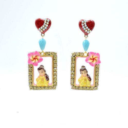 貝兒公主立體拼合畫框耳環 綴施華洛水晶寶石裝飾 的副本