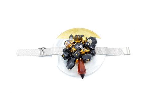 超華麗 黑水晶寶石吊飾手帶 鋼帶可自行簡易調整尺寸 防過敏不掉色