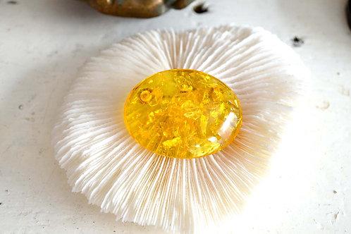 稀有復古金黃琥珀胸針 高貴優雅 日本二手中古珠寶首飾古著