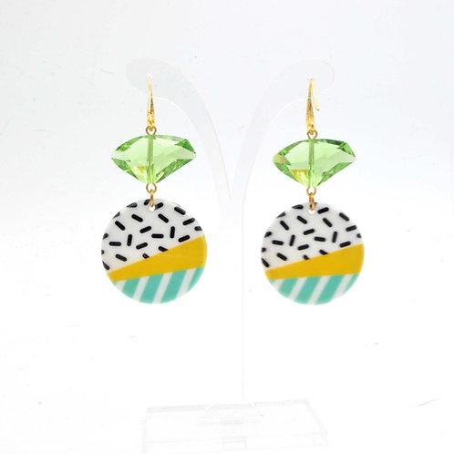 橄欖綠色施華洛不規則水晶石耳環  Olive Swarovski Crystal Earrings
