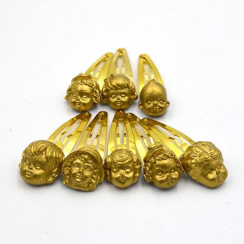 金色 金屬風樹脂娃娃頭髮夾  可訂製 金 銀 黑 或其他顏色