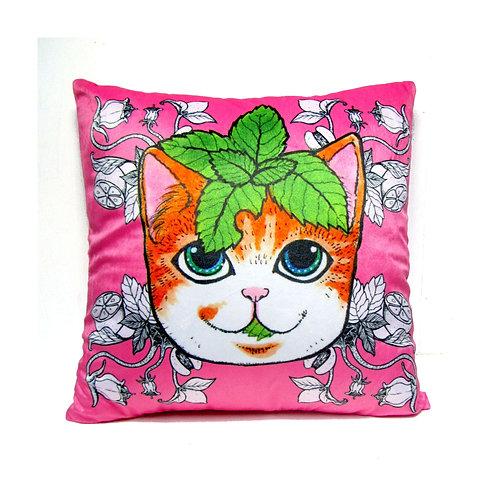 《Gookaso》原創繪本設計創作 薄荷葉貓咪卡通絲絨質印花抱枕 45x45cm 的副本