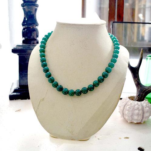 綠色玉瓍中長項鏈超美銀扣 貴婦淑女 日本高級二手古著珠寶首飾