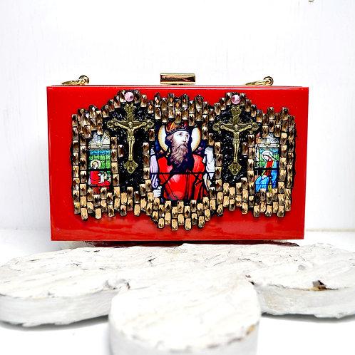 紅色宗教風圖案寶石手提盒子包