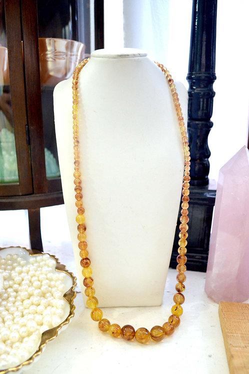超美琥珀色膠質圓珠金扣項鏈 貴婦淑女 日本高級二手古著珠寶首飾