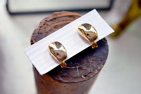 簡約貴族鍍金型夾式耳環耳夾 貴婦淑女 日本高級二手古著珠寶首飾