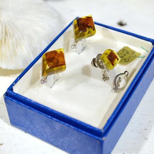 超稀有玳瑁領帶襟針袖鈕套裝 高貴優雅 日本二手中古珠寶首飾古著