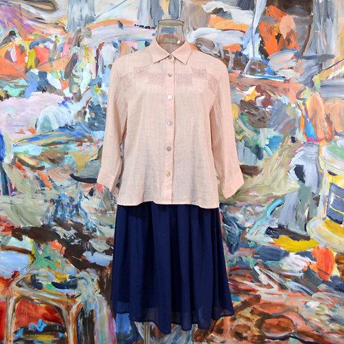 氣質文青粉色剌繡方領長袖寬鬆襯衫 淑女高雅 日本中古古著