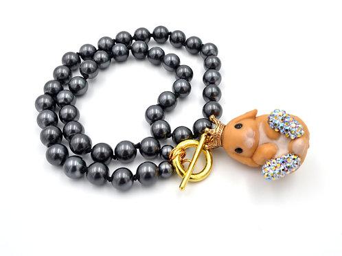 賓尼兔子串玻璃珍珠頸鍊 綴施華洛水晶鞋子項鍊