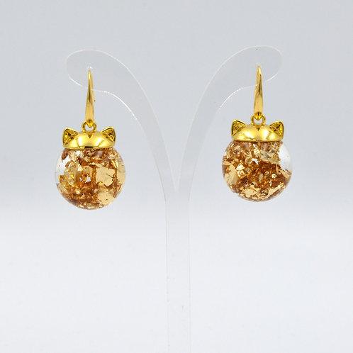 貓耳朵金箔玻璃球耳環