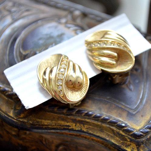 貴族鍍金水鑽螺旋紋夾式耳環耳夾 淑女 日本高級二手古著珠寶首飾
