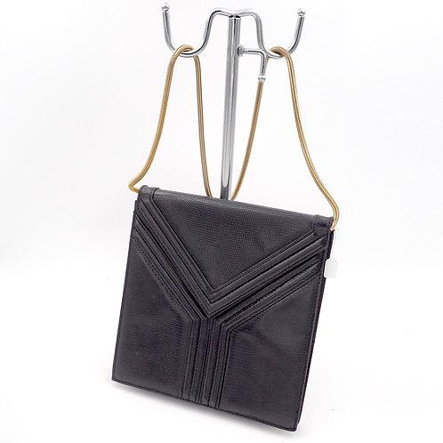 中古YSL Yves Saint Laurent 黑色蜥蝪皮真皮Y字型手提袋包包 意大利高級二手古著珠寶